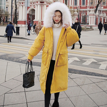 Big Fur Winter Coat Thick Parka Women Long Warm Jacket Winter 2019 New Wadded Parka Down Jacket Pink Windproof Outwear Coat Tops