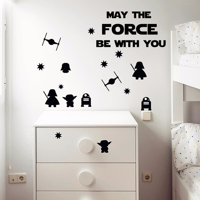 Nice MAY THE FORCE BE WITH YOU Star Wars Wall Stickers,Death Star Darth Vader  Robot