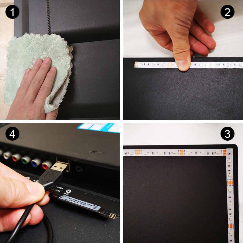 5 V USB Power LED taśmy oświetlenie nocne 2835 3528 SMD 1 M 2 M 3 M 4 M HDTV pulpit PC ekran podświetlenie TV i stronniczości oświetlenie