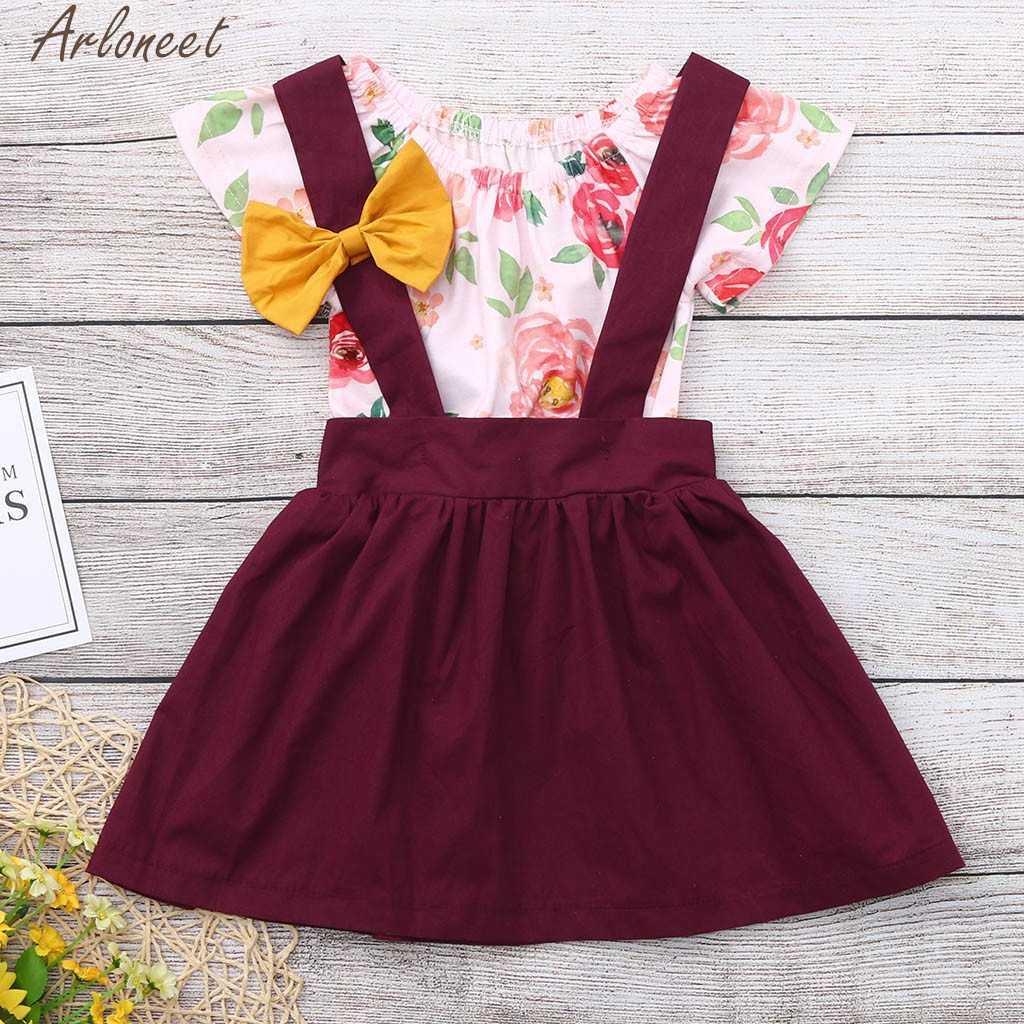 ARLONEET recién nacido niños bebé niñas flor mono + Mono falda ropa trajes suave sensación de mano 19Apr2 femenino P35