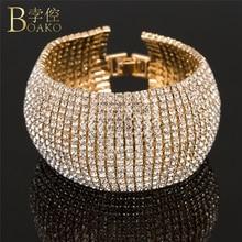 BOAKO Luxury bangles for women bling crystal Bangles Bracelets wedding Rhinestone bridal zirconia Femme Jewelry Z5
