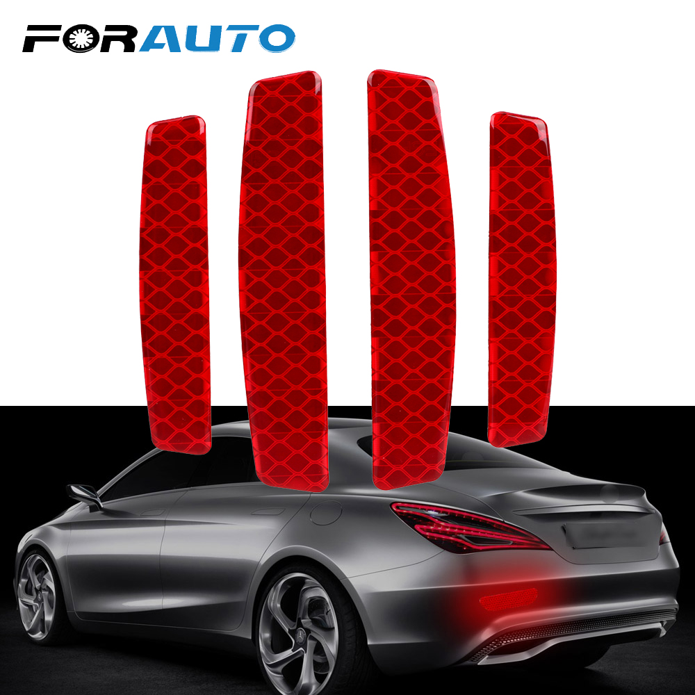 FORAUTO 4Pcs/set Car Door Sticker Reflective Warning Strip Stickers Safety Warning Light Decal Auto Accessory Reflective Tape