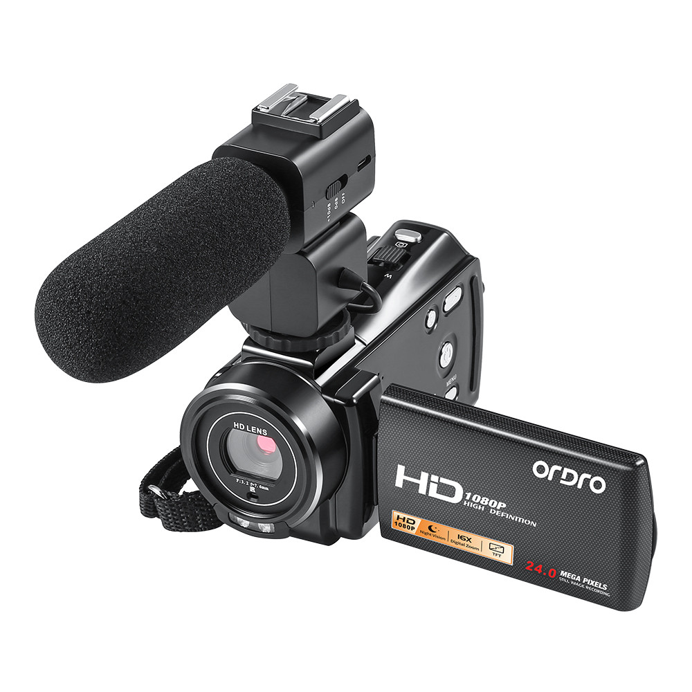 Plus HD 1080 P caméscope vidéo 16X Zoom numérique DV caméra numérique de poche avec Microphone externe zoom numérique 16X