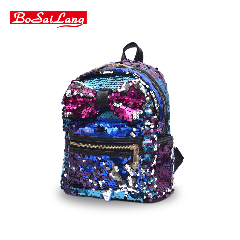 2017 New Arrival Women Bow Backpack Bag PU Leather Sequins Backpack Girls Small Travel Princess Bling