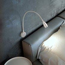 Luz de lectura de libros en la cama Lámpara de lectura para mesilla minimalista LED lámpara de cama para leer cabecera superficie de pared de montaje (3W caliente Whi