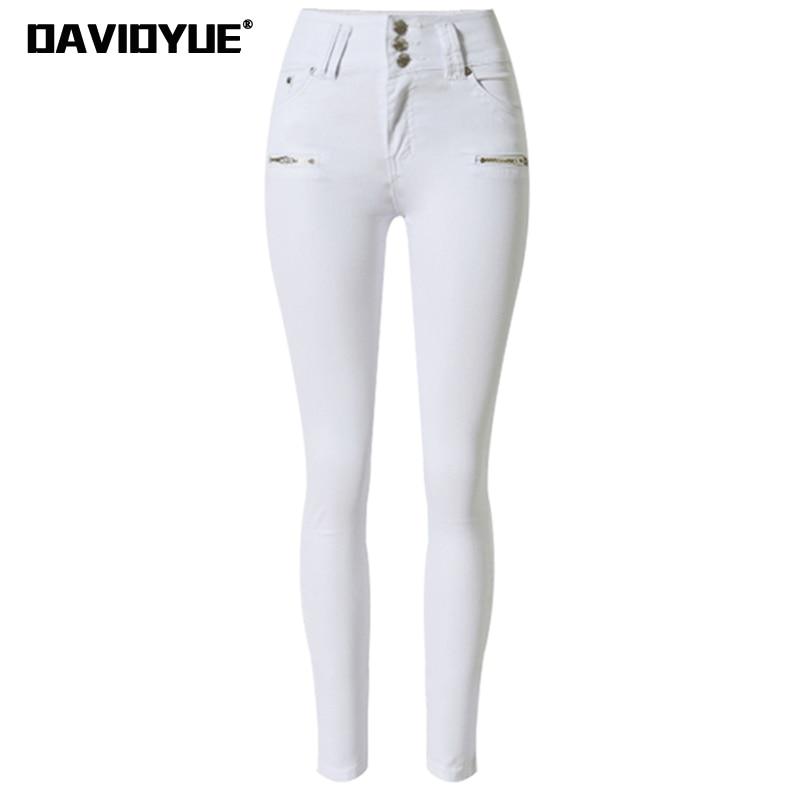 2018 fashion zippers elastic high waist   jeans   woman white skinny   jeans   women Autumn casual elastic denim pencil pants