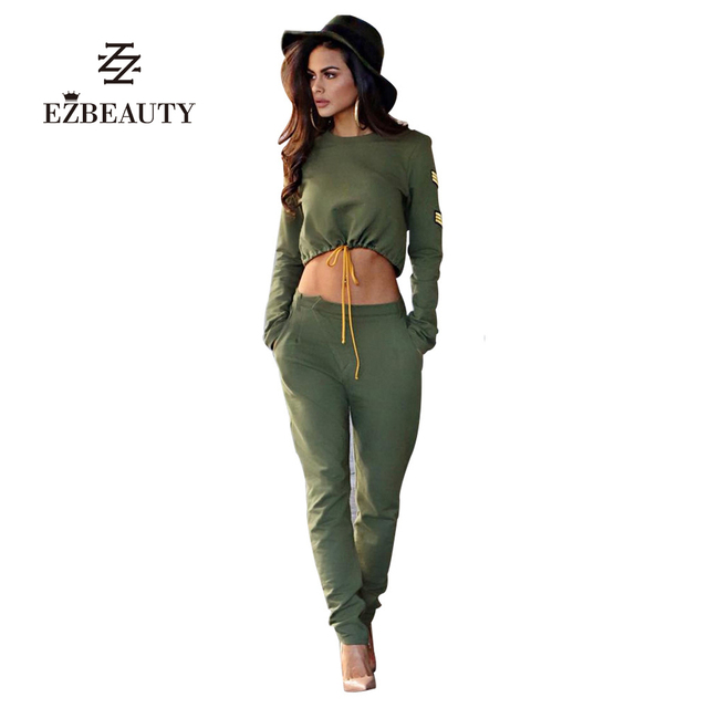 737d75171437 Sexy Women Two Piece Set Fitness Outfits Long Sleeve Autumn Suits Crop Tops  And Pants Overalls