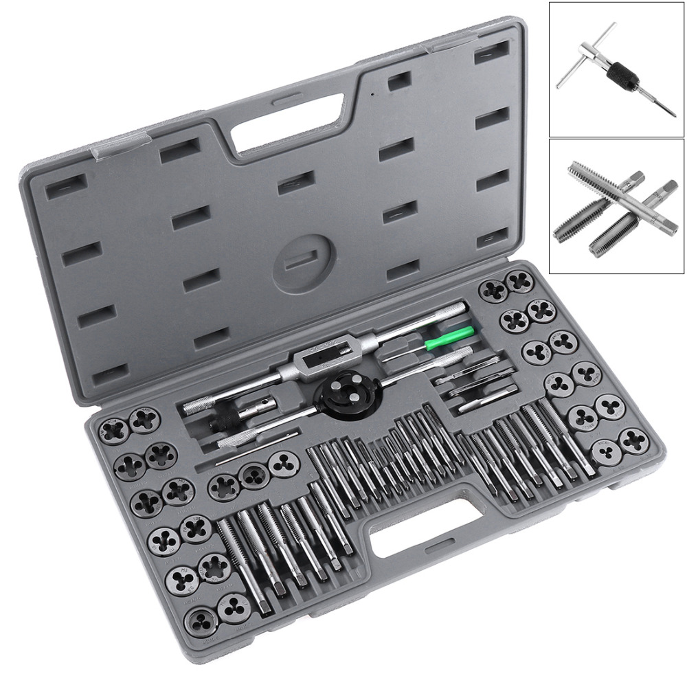 60pcs/set Multifunction Alloy Steel Metric and British Screw Tap & Die Thread Cutting Tapping Hand Tool Kit with Plastic Box free shipping of 1pc hard steel alloy made un 1 15 16 8 american standard die threading tool lathe model engineer thread maker