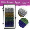 Envío Gratis Glitter Pestañas Extensión 4 Colores 12mm Nuevo Profesional Extensión Individual de la Pestaña