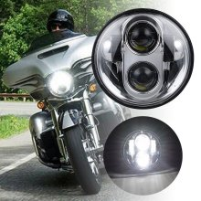 Moto Accessories 5.75″ LED Headlight Motorcycle 5-3/4″ Headlamp for Harley Davidson Projector Daymaker Chrome Black