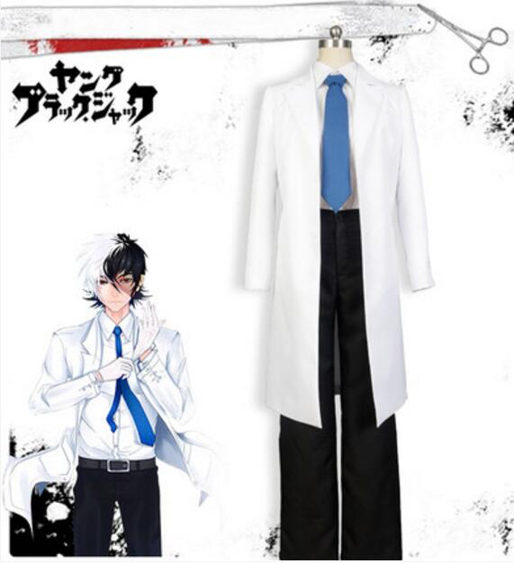 Young Black Jack Doctor cosplay costume set coat font b shirt b font pant uniform set
