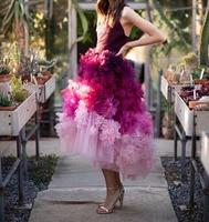 Модное на одно плечо Sheer бретели для нижнего белья чай Длина бальное платье Тюль раза Многоуровневая органза бальные платья Цвет выпускное