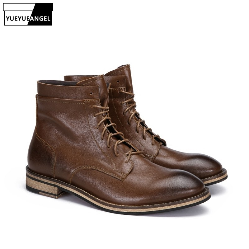 New Winter Warm Fleece Genuine Leather  Boots Men Business Casual Round Toe Lace Up Boots Designer High Quality Men ShoesNew Winter Warm Fleece Genuine Leather  Boots Men Business Casual Round Toe Lace Up Boots Designer High Quality Men Shoes