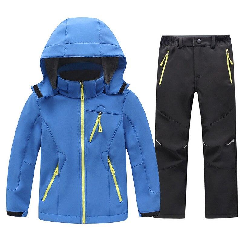 2018 Children Softshell Fleece Jackets and Pants Boys Girls Waterproof Rain Coat Outdoor Hiking Camping Jacket