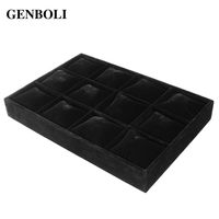 GENBOLI 12 Grids Watch Bracelets Display Tray Black Flannel Showcase Jewelry Packaging Organizer Holder Storage Box