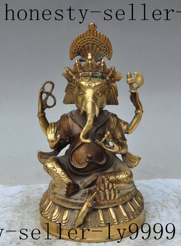 Crafts Statue tibetan brass 4 arms Elephant Jambhala buddha god evil spirits wealth statueCrafts Statue tibetan brass 4 arms Elephant Jambhala buddha god evil spirits wealth statue