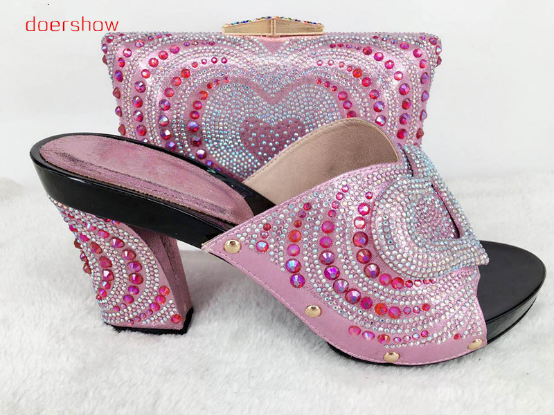 doershow Matching Shoe and Bag Set Wedges Shoes for Women African Wedding Shoe and Bag Sets Italian Shoe and Bag Set   Hlu1-53 african wedding shoes and bag sets women pumps decorated with diamonds italian matching shoe and bag mm1014