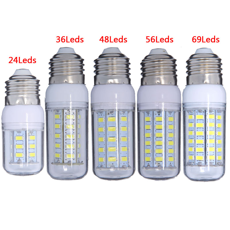 High Power 220v 240v LED Lamp corn bulb Spotlight SMD 5730 lampada led E27 E14 lamparas 7W 12W 15W 20W 25W White / Warm white high power 12v led bulb smd 5730 portable led lamp outdoor camp tent night fishing hanging light lamparas 3w 5w 7w 9w 12w