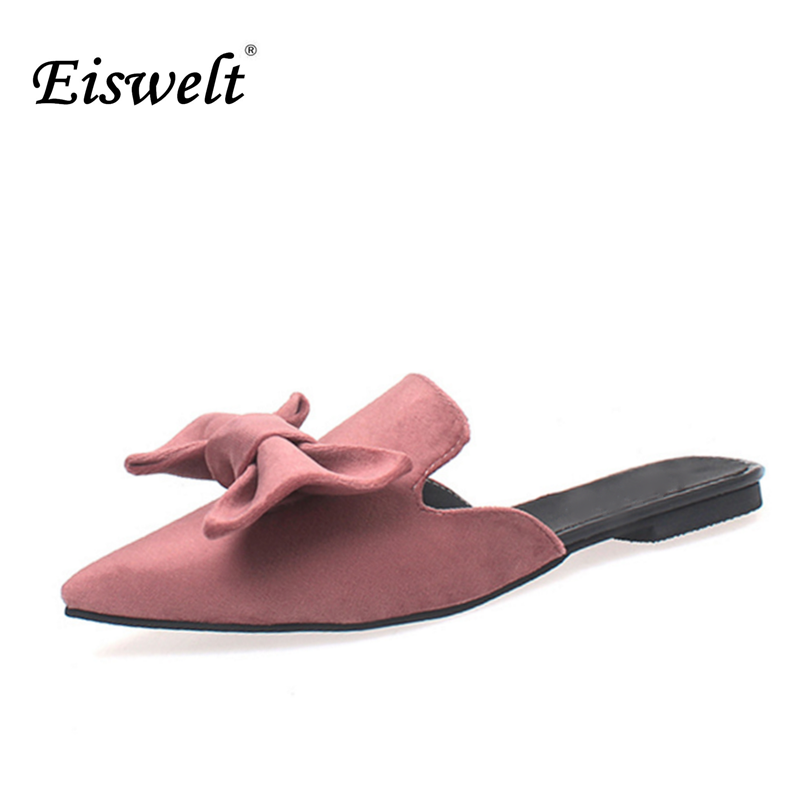 Eiswelt 2017 Fashion Style Spring Summer Women Shoes Sexy Bowknot Slippers Pointed Toe Flat Loafers Newest Slippers#GMJ40 eiswelt shoes spring summer fashion rivet flats party pointed flock women shoes wedding shoes glitter flat ladies shoes zjf84