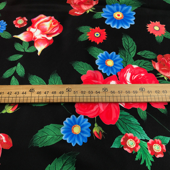 Fabric Flowers Wholesale | 2019 New Flower Bloom Printing Fabric Skirt Shirt Handmade DIY Fabric Good Simulation Silk Polyester Fabric Wholesale