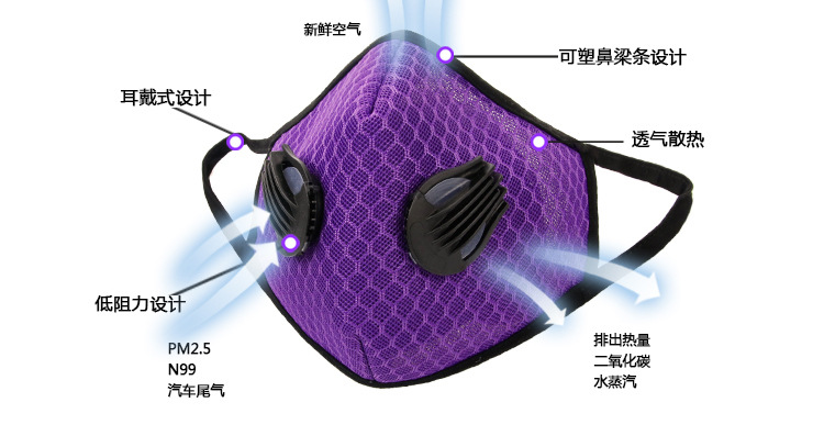 Air Filter Sport Face Mask Training Bicycle Cycling Half Face Mask Bike Running Jogging Facemask Anti Pollution Mask Q1048