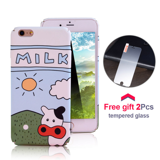 Olaf Cartoon Lovely OX Animal Case Fundas Coque For iPhone 7 6 6S Plus Shell Thin PC Hard Back Cover Tempered Glass Protect Capa