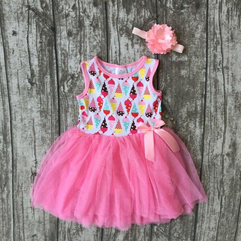 baby girls Summer spring dress children cute ice cream dress girls boutique pink chiffon dress summer dress with headband gift boutique endless summer ice cream recipe book