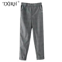 TXJRH Vintage Plaid Houndstooth Print Spliced Striped Side Straight Pants Woman Elastic Waist Trousers Casual Long