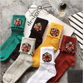 New Fashion Korean Style Gem Candy Color Ruffle Hem Cotton Pile Socks Knee-high Women Socks Hand-made