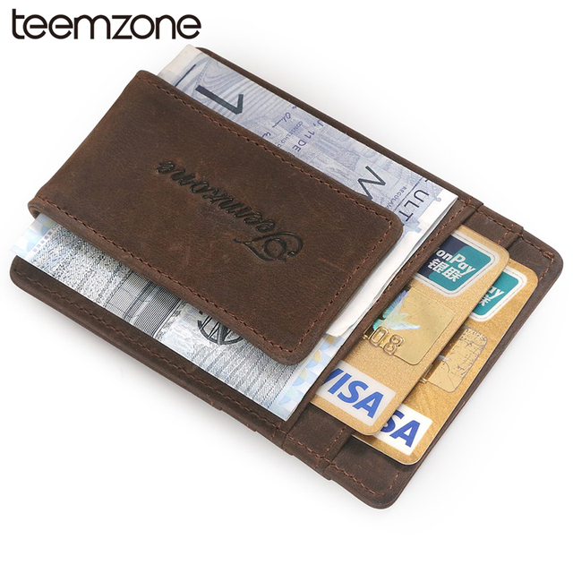 teemzone RFID Blocking Vintage Men Crazy Horse Leather Credit Card ID Holder with Strong Magnet Money Clip Wallet 2 Colors K308
