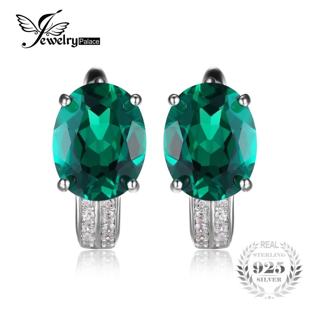 dd55735efcf6 Jewelrypalace 3.5ct verde nano ruso esmeralda creado clip en los pendientes  de pura plata esterlina 925 joyería de moda bonito regalo en Pendientes de  Clip ...