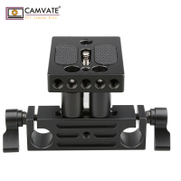 CAMVATE DSLR Baseplate Mount w/ Railblock Height Riser for 15mm Rail Rod Support System C1237 camera photography accessories