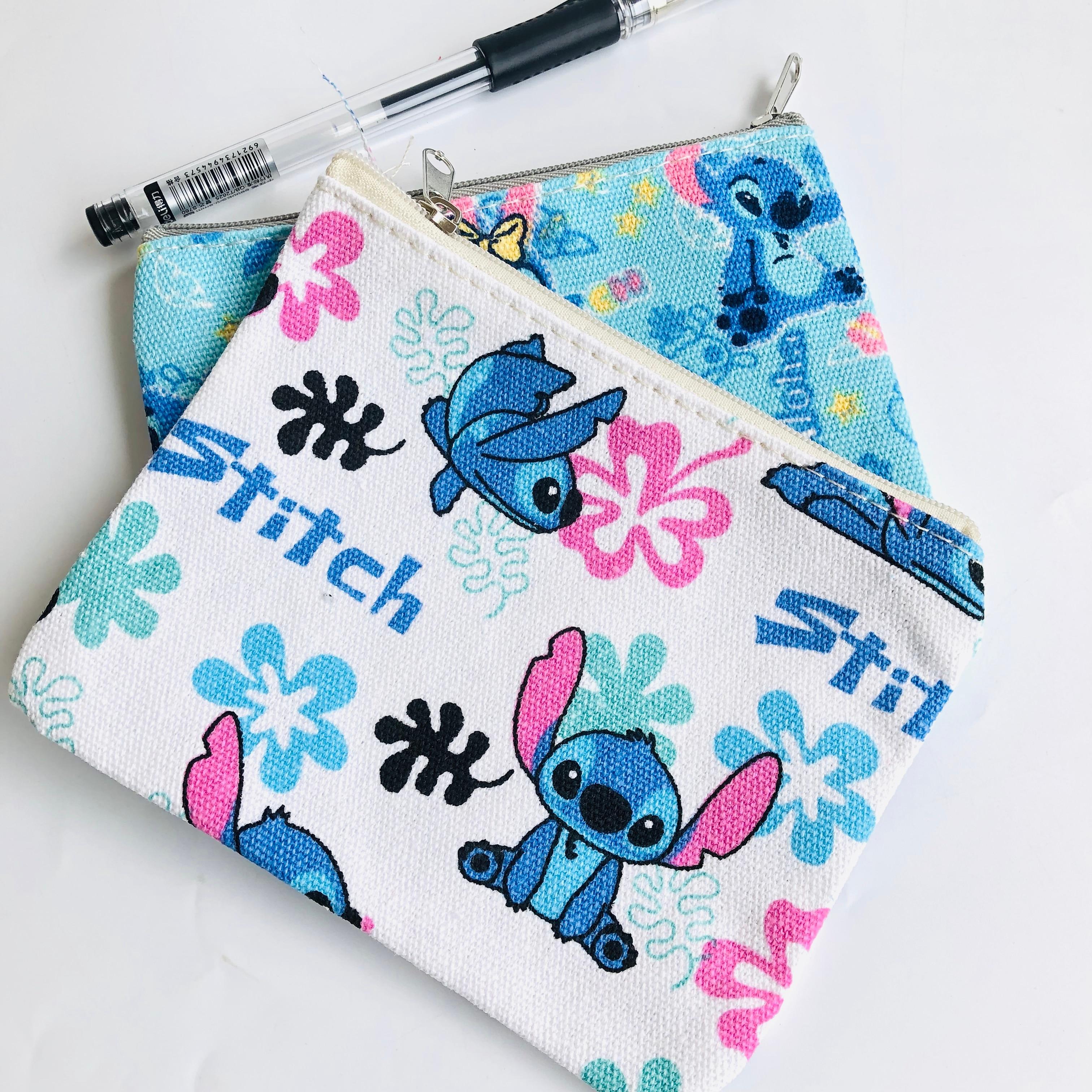 IVYYE 1PCS Stitch Penguin Anime Canvas Coin Purse Cartoon Soft Change Bags Coins  Money Wallet Card Key Storage Gift
