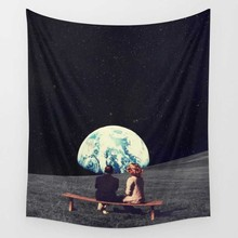 Moon Tapestry Print Blue Ocean Sea Marble Wall Hanging Boho for Bedroom Living Room 150*150cm
