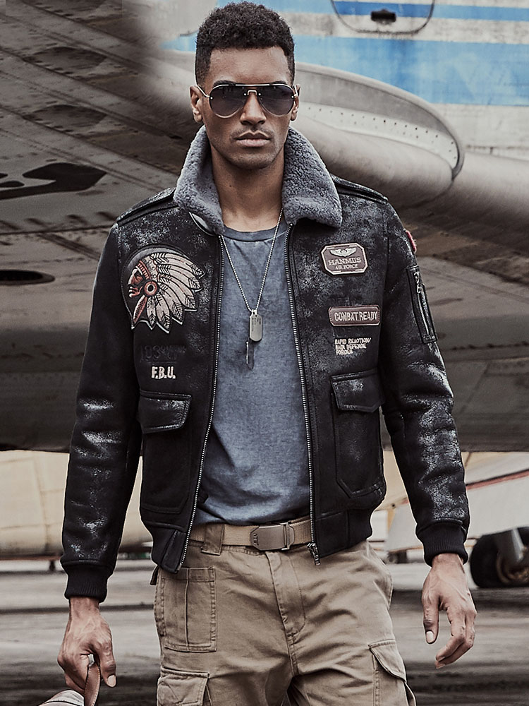 Indian Totem Men Aviator Jacket Mens Shearling Coat  Pilot Jacket Mens Fur Coat B3 Sheepskin Outwear
