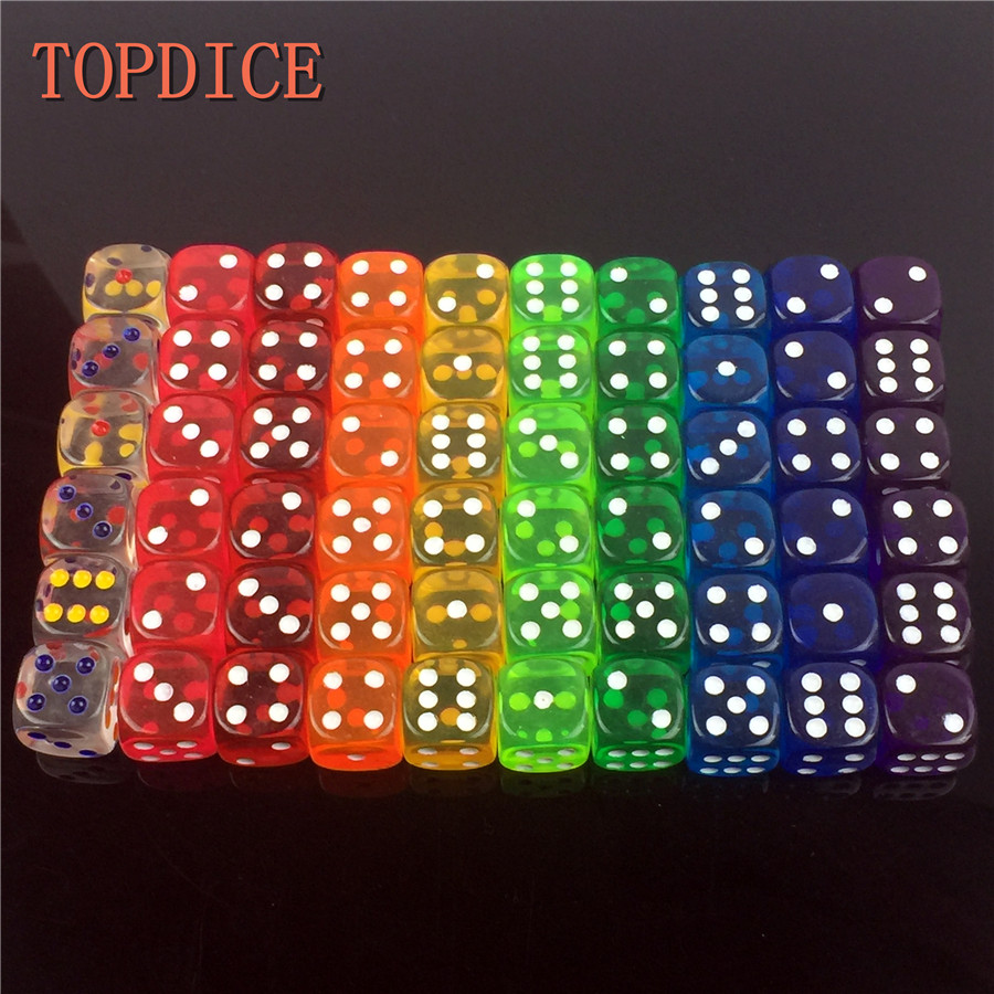 [TOPDICE] 10 pieces/Set 18mm clear colorful dice Digital cube Set Drinking game mahjong