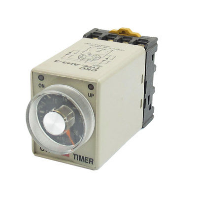 AH3-3 DC24V/DC12V/AC110V/AC220V 0-30 Minutes Timer Power ON Delay Time Relay 8 Pin w Base 3s ah3 3 power on delay timer time relay 36vac plastic housing 8 pin