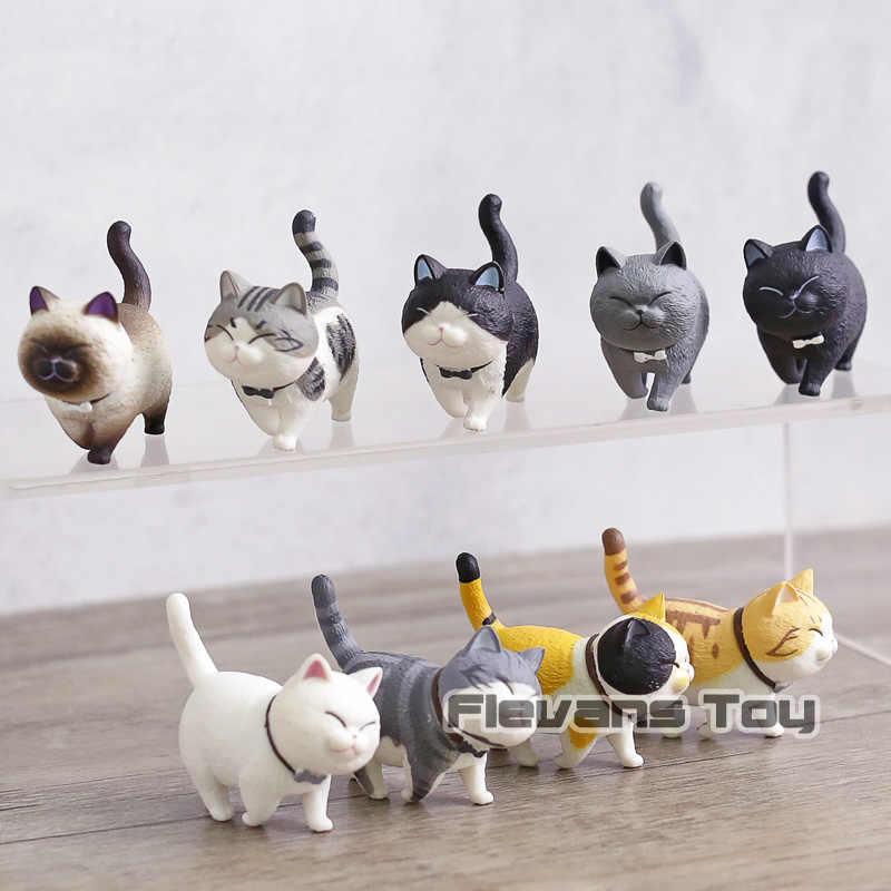 Kawaii dos desenhos animados Encantadores Gatos Neko Mini PVC Figuras de Ação Brinquedos Bonecas Animal para a Decoração Home 9 Caçoa o Presente das Crianças pçs/set