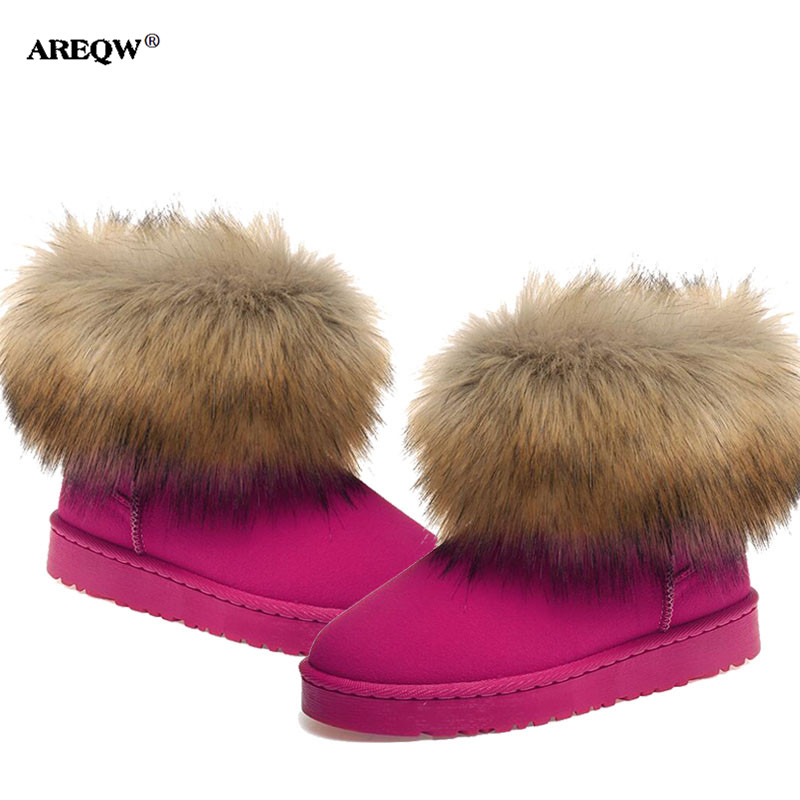 AREQW 2017 autumn and winter snow boots women fashion fox fur warm cotton short boots woman waterproof non-slip flat shoes woman