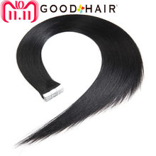Brazilian Straight Tape Hair Jet Black Tape On Human Hair Extensions Skin Wefts US Machine Made Remy Hair 1# 2G/Pcs GOOD HAIR(China)