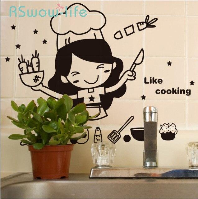 الإبداعية لطيف المطبخ الجدار ملصق للإزالة مقاوم للماء المطبخ الجدار ملصق ديكورات منزلية للمنتجات المنزلية