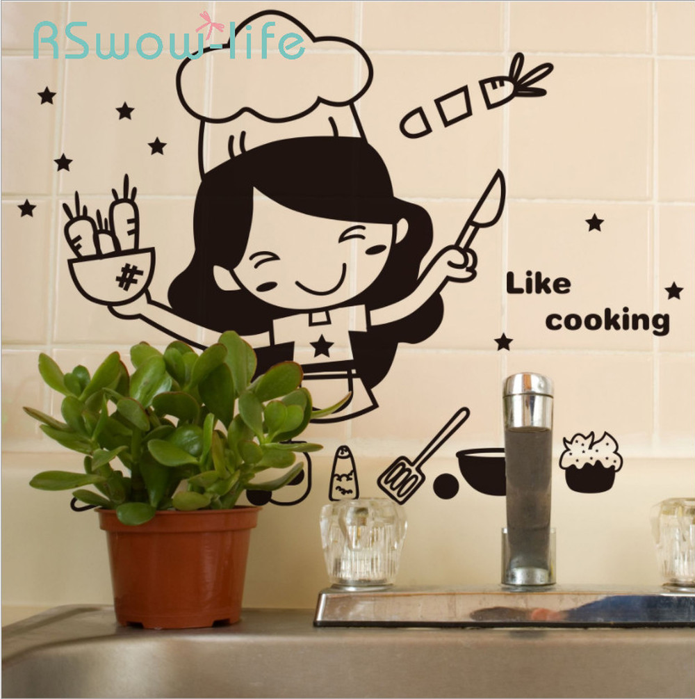 Creative Cute Kitchen Wall Sticker Removable Waterproof Kitchen Wall Sticker House Decoration For Household Products-in Wall Stickers from Home & Garden