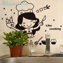 Criativo Bonito Da Cozinha Adesivo de Parede Removível Decoração da Casa Adesivo de Parede Da Cozinha À Prova D Água Para Produtos de Uso Doméstico
