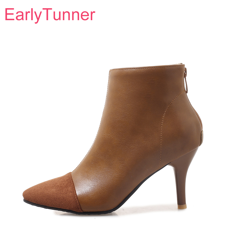 2018 Brand New Winter Soft Black Green Women Nude Ankle Boots Lady Bridal Shoes High Heels ES93 Plus Big Small Size 10 32 43 46 brand new sexy women motorcycle boots black red beige white lady ankle riding shoes fashion nude heels ay902 plus big size 43 48