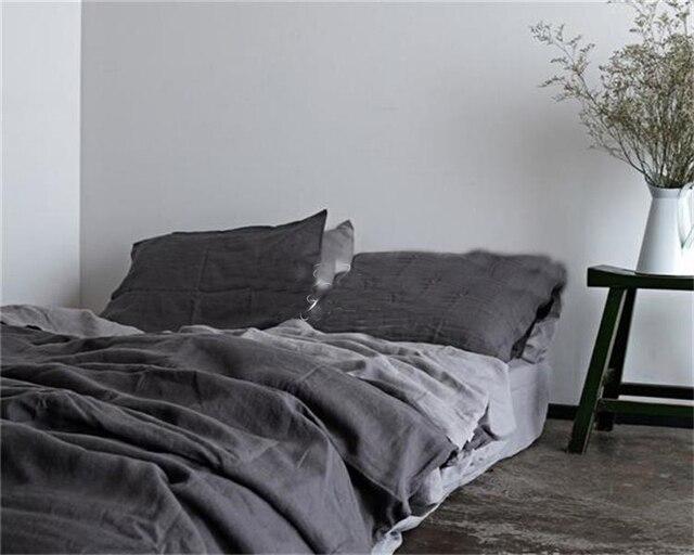 grijs gewassen linnen dekbedovertrek king size bed linnen franse