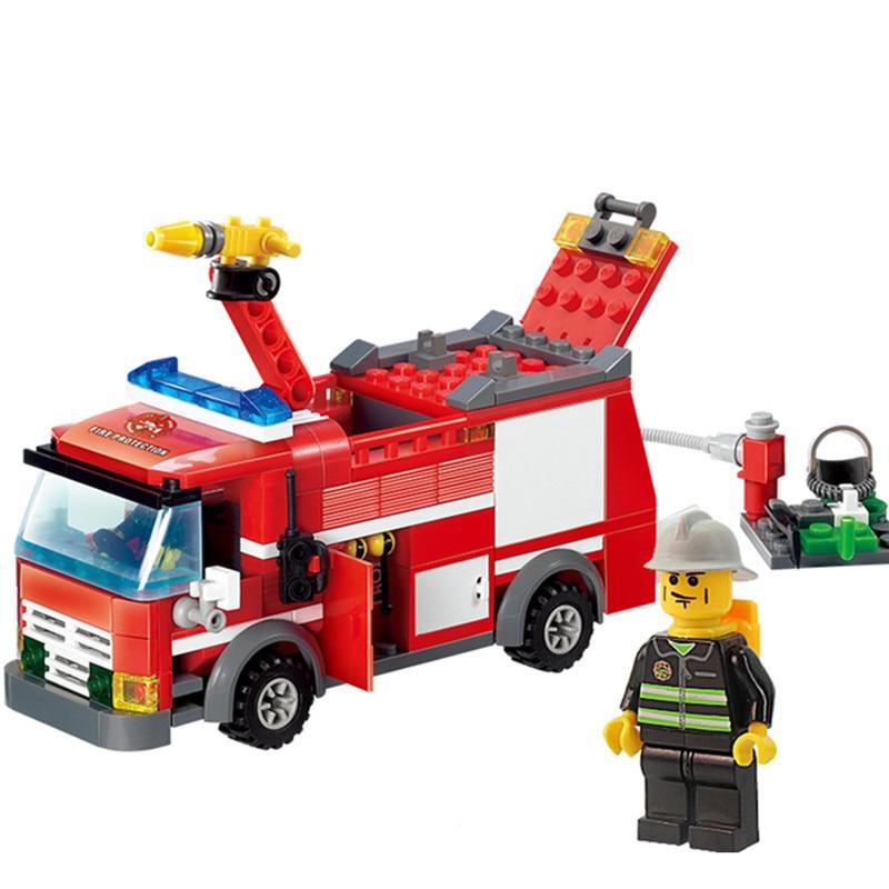 KAZI-8054-Fire-Truck-Building-Blocks-Set-Model-206-pcs-Enlighten-Educational-DIY-Construction-Bricks-Toys
