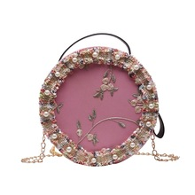2019 Fashion Round Women Bags Pu Leather Circular Pink Flower Shoulder Bags Knitted Pearl Handbags Crossbody Bags for Women pink pu zip design shoulder bags