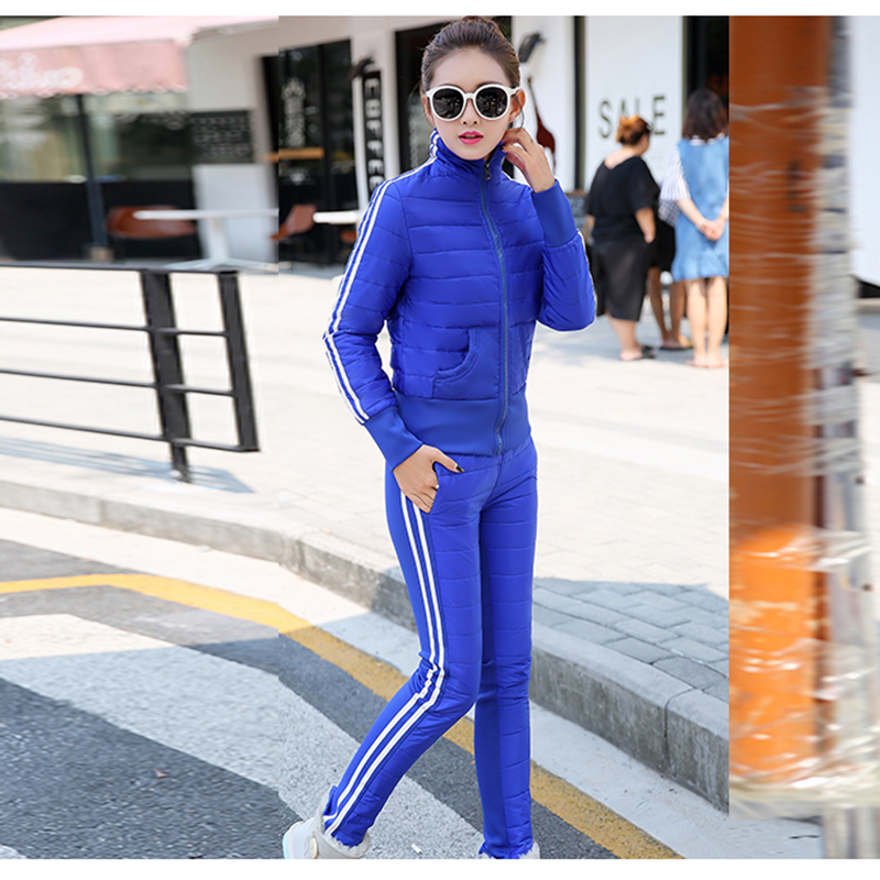 Costume Femmes Épais Nouvelle En bleu Chaud Veste Mme Pantalon Deux Code Rouge 2018 Duvet Des De Hiver pièce noir Coton beige Loisirs 0vwq5gY