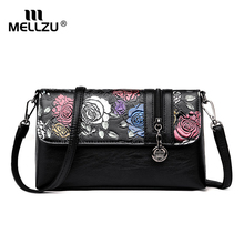 Купить с кэшбэком Mellzu Women Handbag Fashion Style Female Painted Shoulder Bags Flower Pattern Messenger Bags Leather Casual Tote Evening Bag