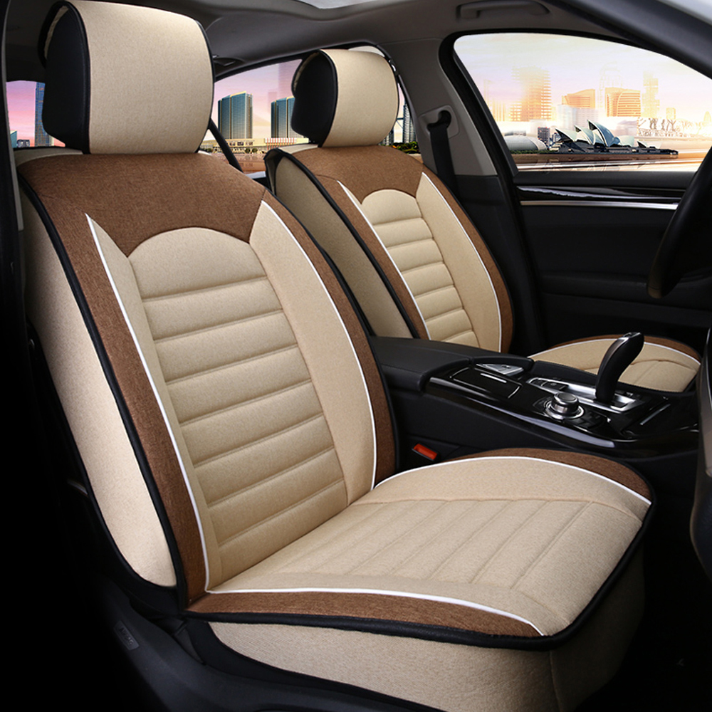 9PCS Universal Car Seat Covers Flax Fabric Automoblies Car Front & Rear Seat Cushion Full Set For 5 Seats Interoir Accessories dewtreetali universal automoblies seat cover four seaons car seat protector full set car accessories car styling for vw bmw audi